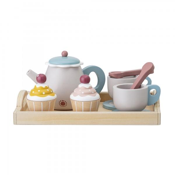 Bloomingville Holz-Spielzeug-Set Tee Tablett 8 tlg. (Bunt)