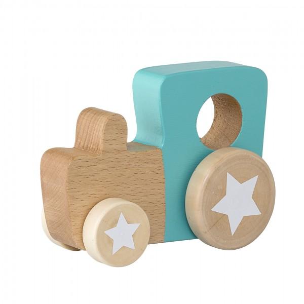 Bloomingville Mini Holz Spielzeug Auto Lok in natur/türkis