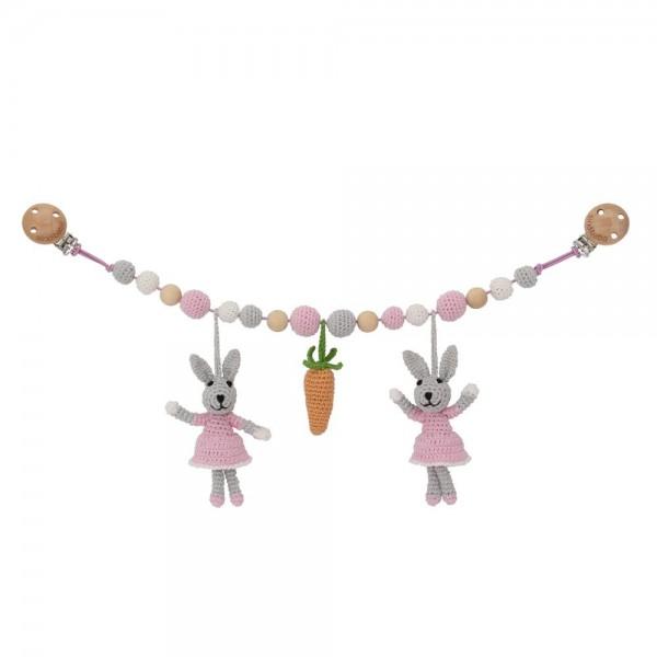 Sindibaba Kinderwagenkette Hase rosa