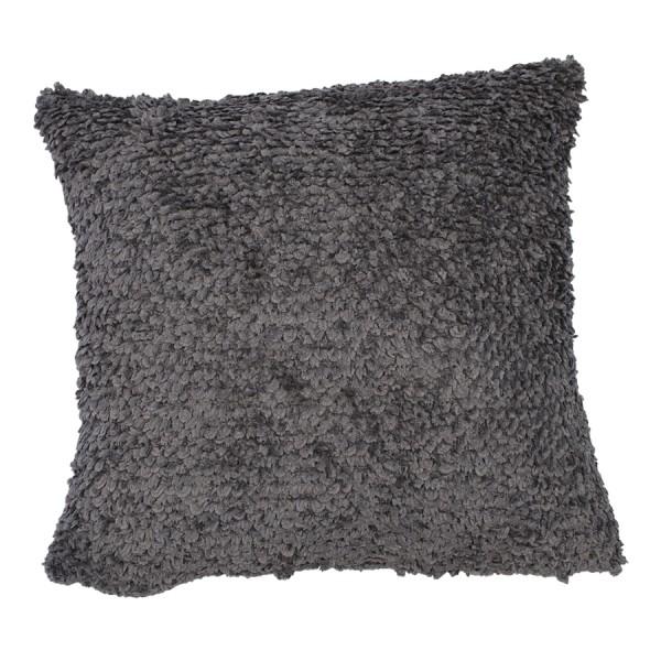 Kissenhülle Plüsch grau