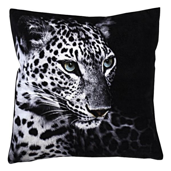 Kissenhülle Fotomotive Leopard schwarz 40x40 cm