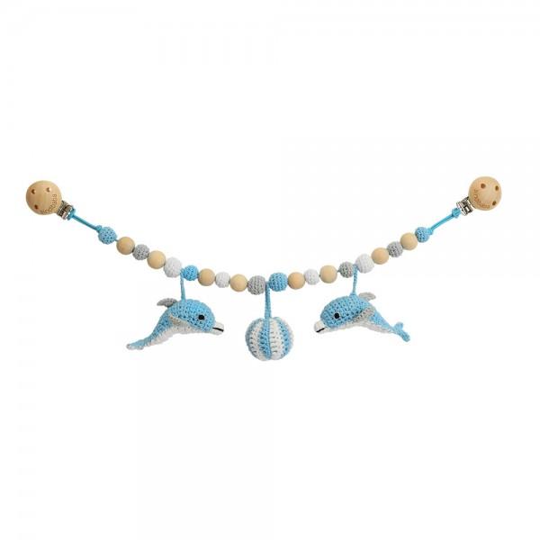 Sindibaba Delfin Kinderwagenkette blau Handmade