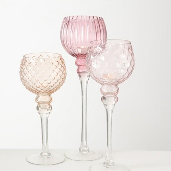 BOLTZE Windlicht Manou 3-teilig Set Rosa Aprikot Hellrosa Transparent