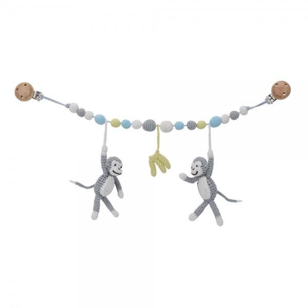 Sindibaba Kinderwagenkette Äffchen grau blau Handmade