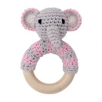 Sindibaba Rassel Elefant grau rosa