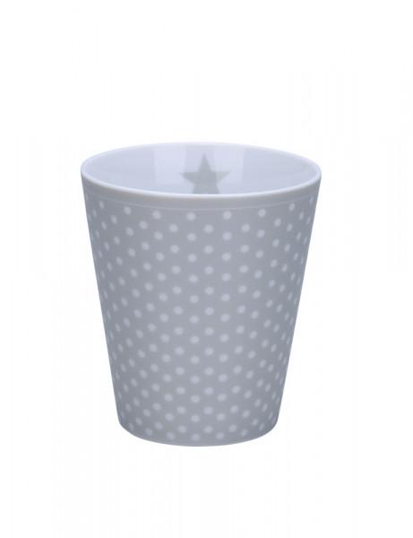 Happy Mug Cup Krasilnikoff Becher Tasse ohne Henkel Micro Dots Grey