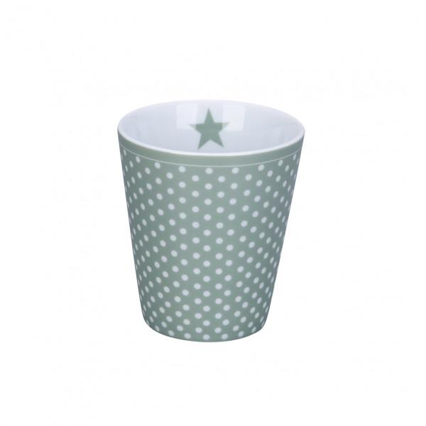 Krasilnikoff Tasse Becher Happy Mug Micro Dots Dusty Green Mint Kaffeetasse