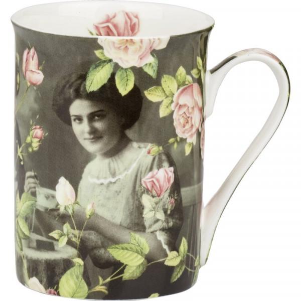 Becher Tasse IHR It´s Tea Time aus Bone China Porzellan