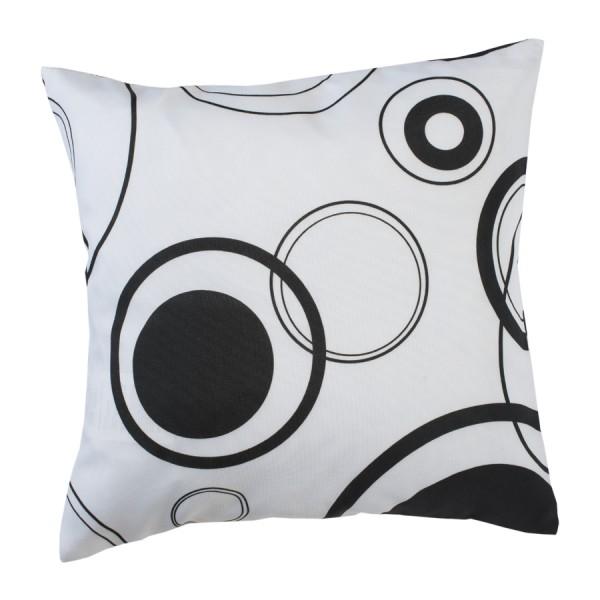Kissenhülle weiss mit schwarzen Kreisen 40 x 40 cm