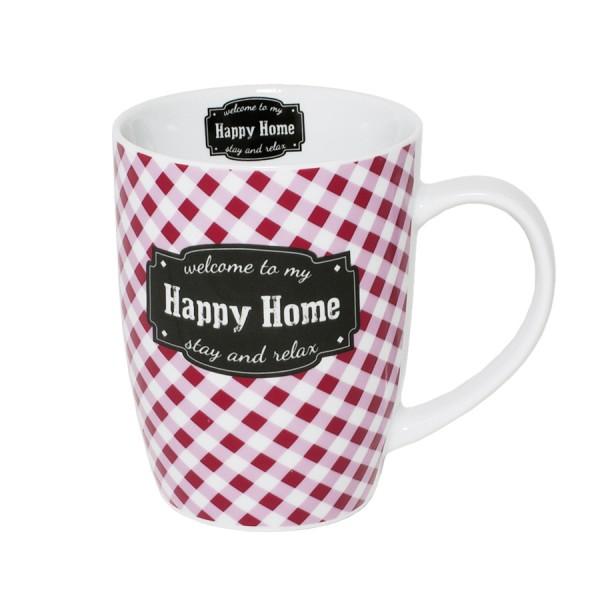 BOLTZE Becher Happy Home rot weiss kariert