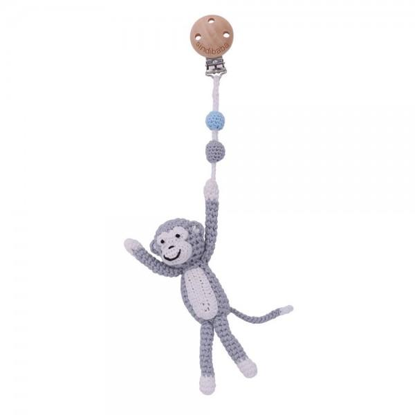 Kinderwagen Clip Affe grau Handmade